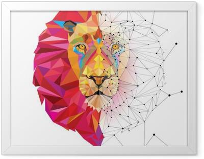 Plakat w ramie Głowa lwa w geometryczny wzór z linii wektora gwiazdy