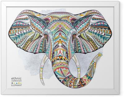 Plakat w ramie Etnicznych wzorzyste głowa słonia na tle folwark / Afryka / indian design / totem / tatuaż. Użyj do druku, plakaty, koszulki.