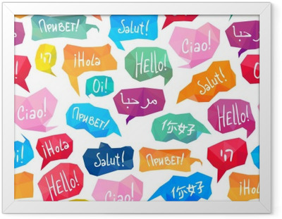 """Seamless pattern - speech bubbles with """"Hello"""" on different languages Framed Poster"""