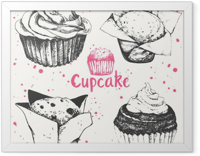 Cupcakes and muffins. Set of hand drawn cakes. Framed Poster