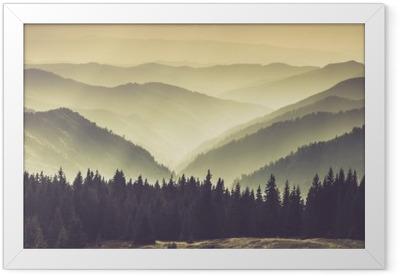 Misty mountain hills Framed Poster
