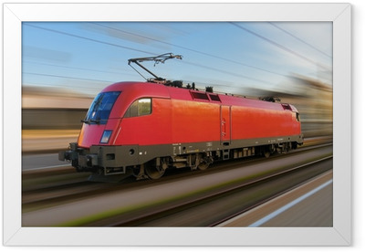 Modern european electric locomotive with motion blur Framed Poster