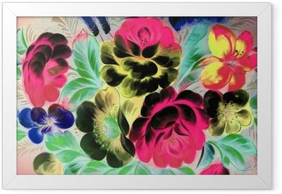 Plakat w ramie Malarstwo olejne, styl impresjonistyczny, malowanie faktur, kwiat martwa natura obraz malowany kolorem,