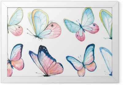Gerahmtes Poster Sammlung Aquarell von fliegenden Schmetterlingen.