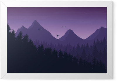 Vector illustration of mountain landscape with forest under purple night sky with clouds and flying birds Framed Poster