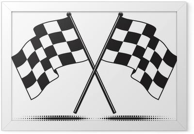 Ingelijste Poster Vector geruite vlaggen - bereikte het doel. Gradient gratis.