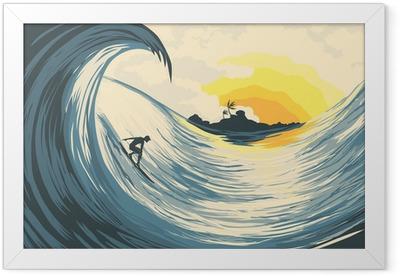 Poster i Ram Tropisk ö våg och surfare