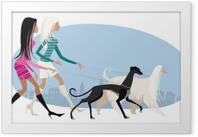 Walking dogs Framed Poster