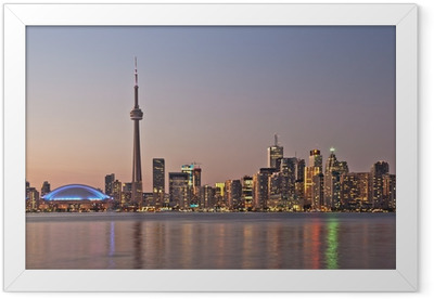 Toronto night skyline CN Tower downtown skyscrapers sunset Canad Framed Poster