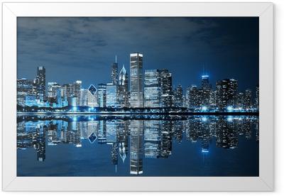 Gerahmtes Poster Chicago bei Nacht