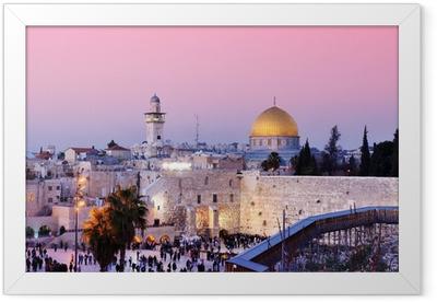 Ingelijste Poster Westelijke Muur en de Koepel van de Rots in Jeruzalem, Israël