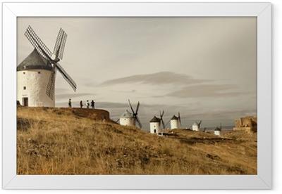 Gerahmtes Poster Spanische Windmühlen - Consuegra
