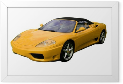 Poster en cadre Supercar décapotable jaune