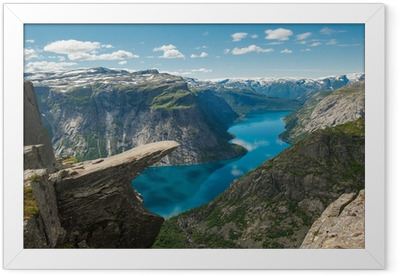 Çerçeveli Poster Trolltunga, Troll dilini kaya, Norveç