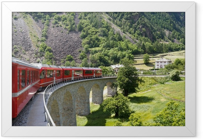 Swiss mountain train Bernina Express Framed Poster