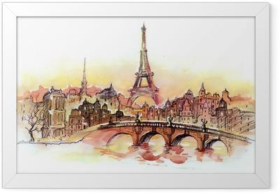 Ingelijste Poster Zonsondergang in Parijs