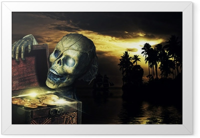 Pirate opening a chest full of gold coins Framed Poster