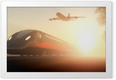 The train and airplane Framed Poster