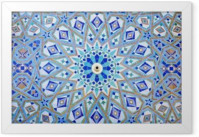 Ingelijste Poster Oosterse Mozaïek bij de moskee Hassan II in Casablanca, Marokko