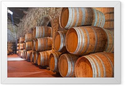 Poster en cadre Cave avec des tonneaux de vin - Alcool