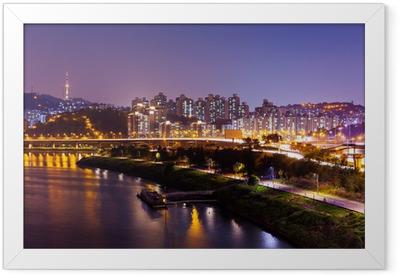 Ingelijste Poster Seoel stad bij nacht