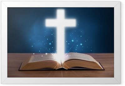 Ingelijste Poster Open Bijbel met gloeiende kruis in het midden