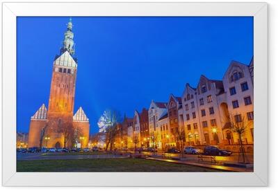 Gamlebyen Elblag om natten i Polen Indrammet plakat
