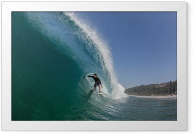 Surfing Tube Ride Large Wave Framed Poster