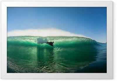 Surfing Bodyboarder Inside Hollow Wave Colors Framed Poster