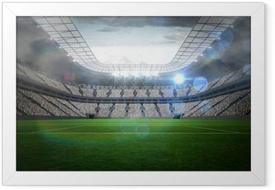Ingelijste Poster Groot voetbalstadion met verlichting