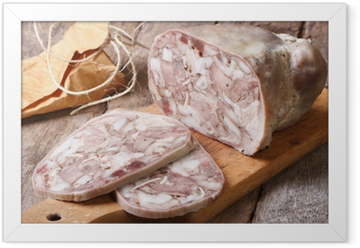 Cut headcheese on chopping board close-up Framed Poster