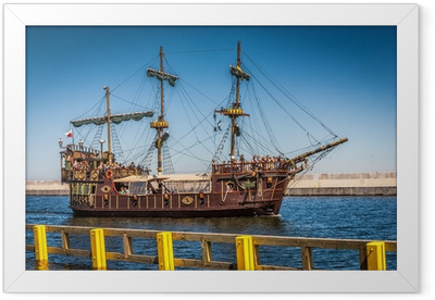 Pirate galleon ship on the water of Baltic Framed Poster