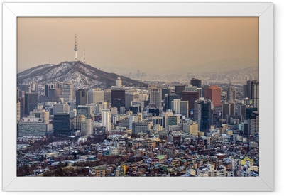 Ingelijste Poster Seoel, Zuid-Korea Skyline