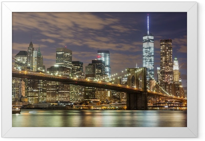 Brooklyn Bridge and Downtown Skyscrapers in New York at Dusk Framed Poster