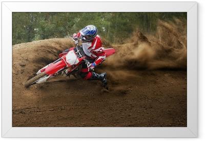 Ingelijste Poster Ruiter rijden in de motocrossras