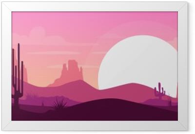 Ingelijste Poster Cartoon woestijnlandschap