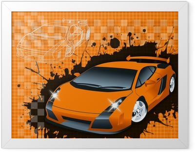 Poster en cadre Supercar fond raster illustration.