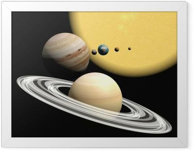 Póster com Moldura the solar system, abstact presentation.
