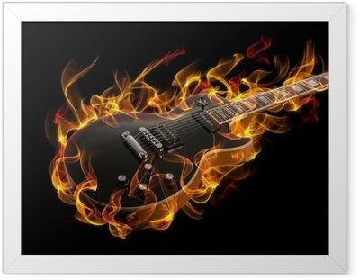 Gerahmtes Poster E-Gitarre in Feuer und Flammen