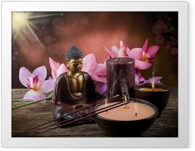 Poster in Cornice Buddah witn candele e incenso