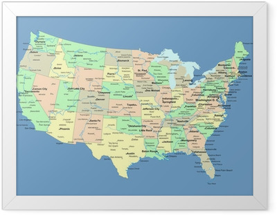USA kort med navn på stater og byer Indrammet plakat