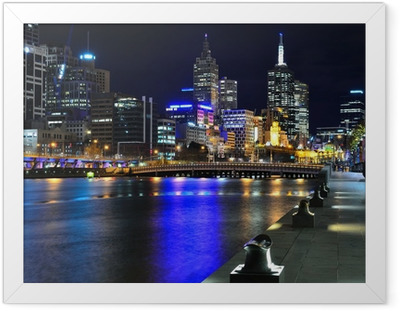 Melbourne mit Skyline und Yarra River Indrammet plakat