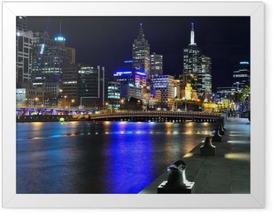 Plakat w ramie Melbourne skyline i rzeki Yarra