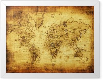 Gamle kort over verden Indrammet plakat