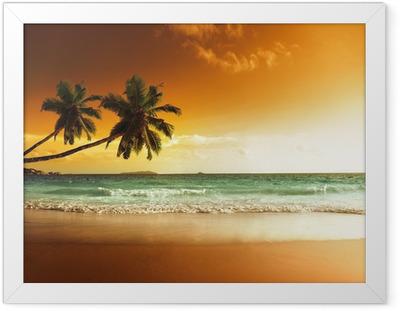 Poster in Cornice Tramonto sulla spiaggia del Mar dei Caraibi