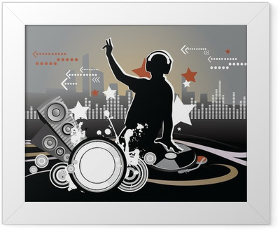 Gerahmtes Poster Dj, Musikkonzept, Illustration