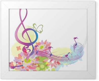 Poster en cadre Musique d'été avec clé de sol décoratif