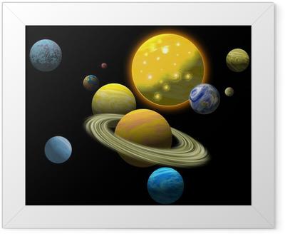 Póster com Moldura Solar system