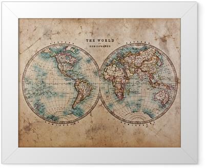Plakat w ramie Stara mapa świata na półkuli