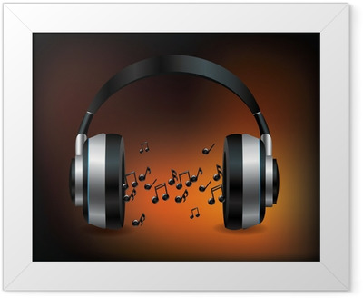 Headphones with notes Framed Poster
